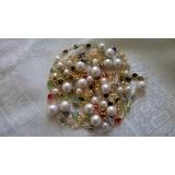 Perlový náhrdelník bílé obláčkové jezerní perly 11mm a křišťál YY173