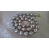 Perlový náhrdelník mořské barokní šedostříbrné perly 11mm NJ5930