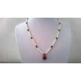 Perlový náhrdelník bílé jezerní perly a rubíny DL040