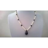 Perlový náhrdelník bílé jezerní perly a safíry DL043