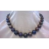 Perlový náhrdelník obláčkové jezerní černé perly 15mm OP028
