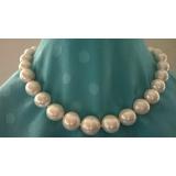 Perlový náhrdelník obláčkové jezerní bílé perly 16mm OP032