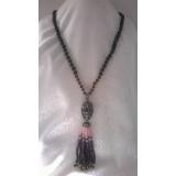 Perlový náhrdelník černé jezerní perly, ametyst, granát, růženín a záhněda YY178