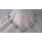 Perlový náhrdelník šedé jezerní barokní perly YY194