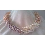 Perlový náhrdelník bílé, růžové a levandulové jezerní perly YY179