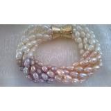 Perlový náramek jezerní bílé, růžové a levandulové perly BY008