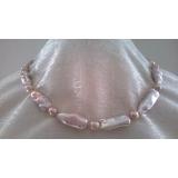 Perlový náhrdelník levandulové jezerní perly 27mm NJ9514