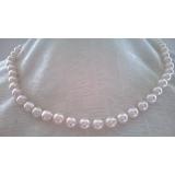 Perlový náhrdelník bílé mořské akoya perly s růžovým nádechem ES048