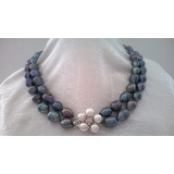 Perlový náhrdelník černé jezerní drip perly 13mm NJ10994