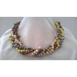 Perlový náhrdelník barevné jezerní perly EC044