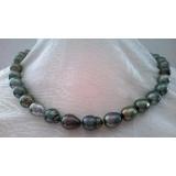 Perlový náhrdelník černé mořské barokní tahiti perly 12mm NJ10368
