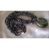 Perlový náhrdelník jezerní černé perly+mušle abalone YY009