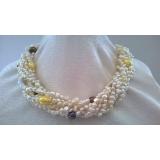 Perlový náhrdelník jezerní bílé a barevné perly EC009