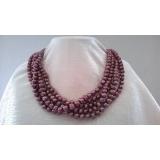 Perlový náhrdelník fialové jezerní perly 9mm EC046