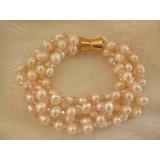 Náramek bílé perly a růžový křišťál BY187