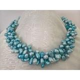 Perlový náhrdelník jezerní modré perly ES052