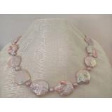 Perlový náhrdelník jezerní levandulové perly  25mm ES053