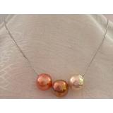 Perlový náhrdelník jezerní duhové obláčkové perly 12mm na řetízku CS0273
