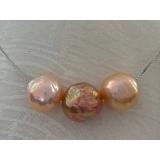 Perlový náhrdelník jezerní duhové obláčkové perly 12mm na řetízku CS0270