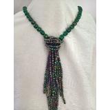 Perlový náhrdelník zelené jezerní perly 13mm YY122