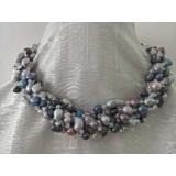 Perlový náhrdelník jezerní šedé a černé perly a křišťál YY203