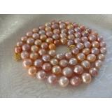 Perlový náhrdelník jezerní růžové a levandulové obláčkové perly 12mm WN014