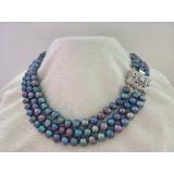 Perlový náhrdelník černé jezerní perly 10mm YY209