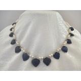 Perlový náhrdelník jezerní bílé perly a přírodní safíry DL074
