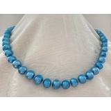 Perlový náhrdelník pravé modré jezerní perly 10mm NJ8023
