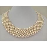 Perlový náhrdelník bílé jezerní perly 4mm  NJ11906