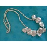 Perlový náhrdelník bílé jezerní perly reborn keshi  NJ11834