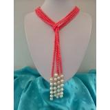 Perlový a korálový náhrdelník jezerní bílé perly 9mm NJ11694