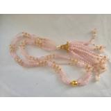 Náhrdelník bílé jezerní perly a růženín YY218