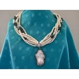 Perlový náhrdelník bílé a černé jezerní perly, přívěšek velká keshi perla YY212