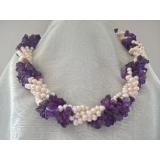 Perlový náhrdelník bílé jezerní perly a fialový ametyst YY213