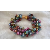 Perlový náramek barevné jezerní reborn keshi perly BB102
