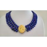 Perlový náhrdelník modré jezerní perly 9mm NJ9370