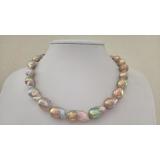 Perlový náhrdelník levandulové jezerní barokní obláčkové perly EWN012