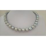 Perlový náhrdelník šedé jezerní perly 12mm NB329