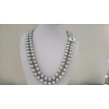 Perlový náhrdelník šedé jezerní perly 12mm NB328