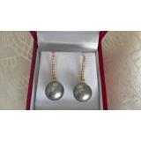 Perlové náušnice mořské tahiti perly 11mm, zlato 14K, diamanty ES004