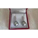 Perlové náušnice mořské tahiti perly 11mm, bílé zlato 14K, přírodní diamanty ES051