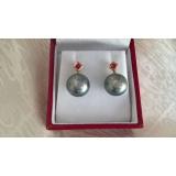 Perlové náušnice mořské tahiti perly 11mm, zlato 14K, rubíny ES001
