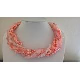 Perlový náhrdelník jezerní růžové perly, růženín, růžový korál a křišťál EC043