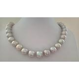 Perlový náhrdelník jezerní šedostříbrné perly 15mm,  ES092
