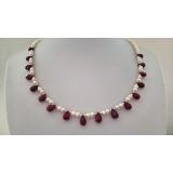 Perlový náhrdelník bílé jezerní perly a rubíny DL042B