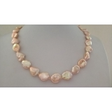 Perlový náhrdelník růžové jezerní reborn keshi perly 16mm ES093