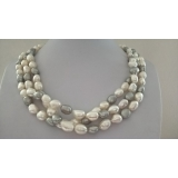 Perlový náhrdelník jezerní bílé perly a šedé perly YY226