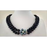 Perlový náhrdelník černé jezerní perly 10mm NJ12196