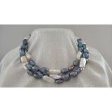 Perlový náhrdelník jezerní bílé a černé perly NB335